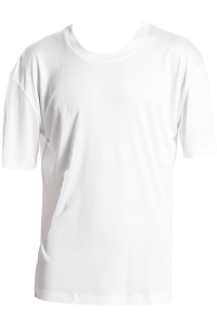 Basic T-Shirt, 100% Seide, Interlock, Weiss, L